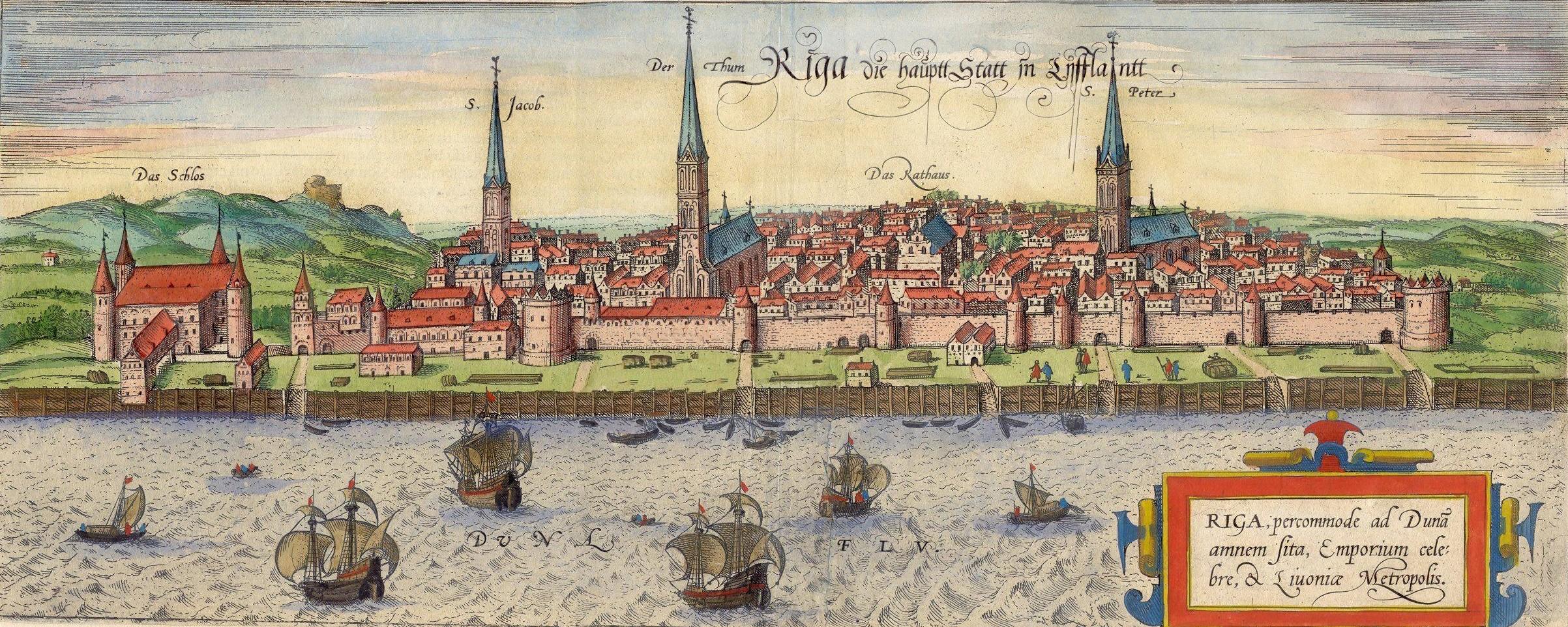 Панорама Риги около 1572 гола, Франк Хогенберг.
