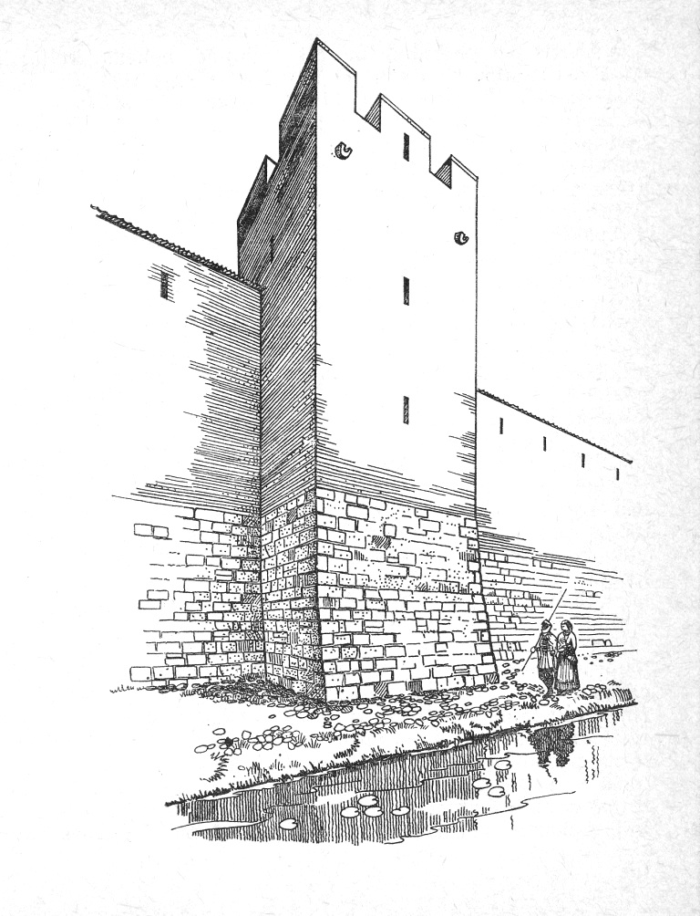 Реконструкция внешнего вида Башни Рамера в XIII веке. Рисунок Г. Янсонса.