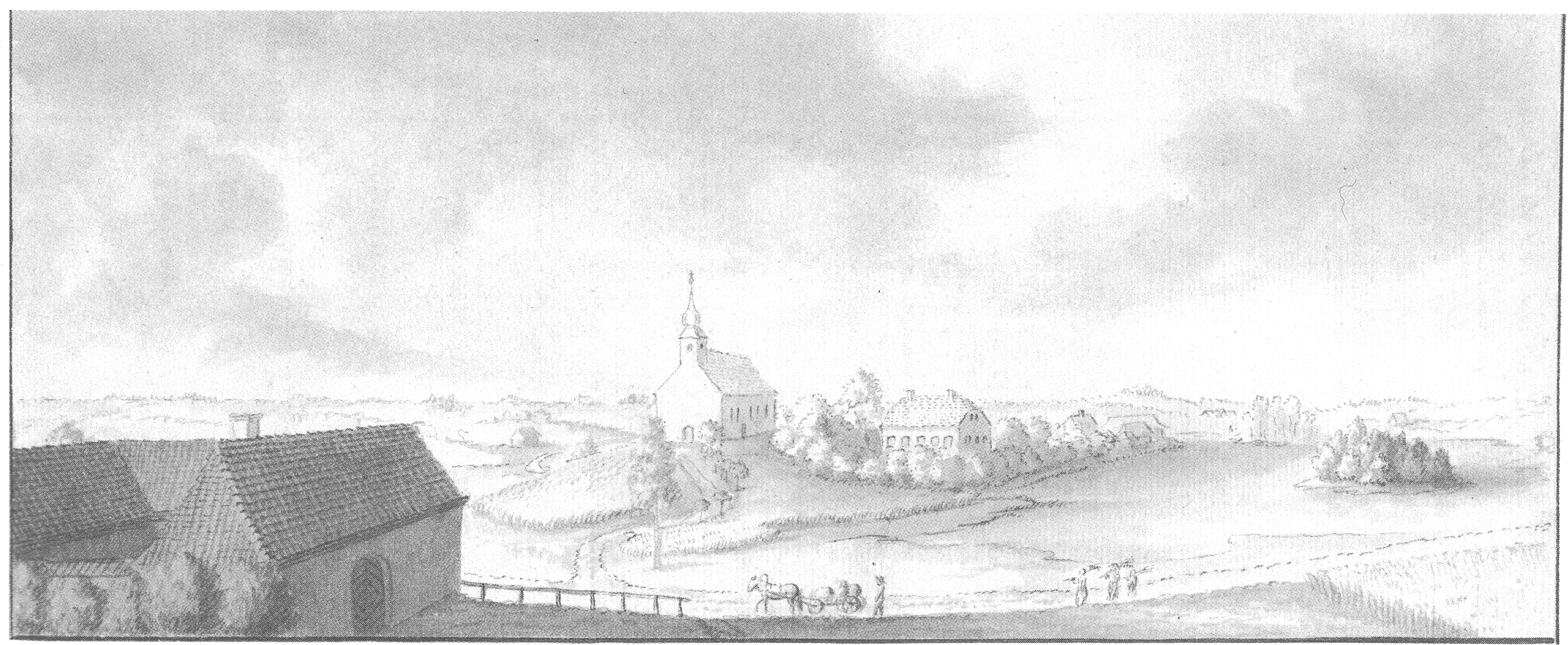Панорама Арайшей. Рисунок И.К. Броце, 1800 год.