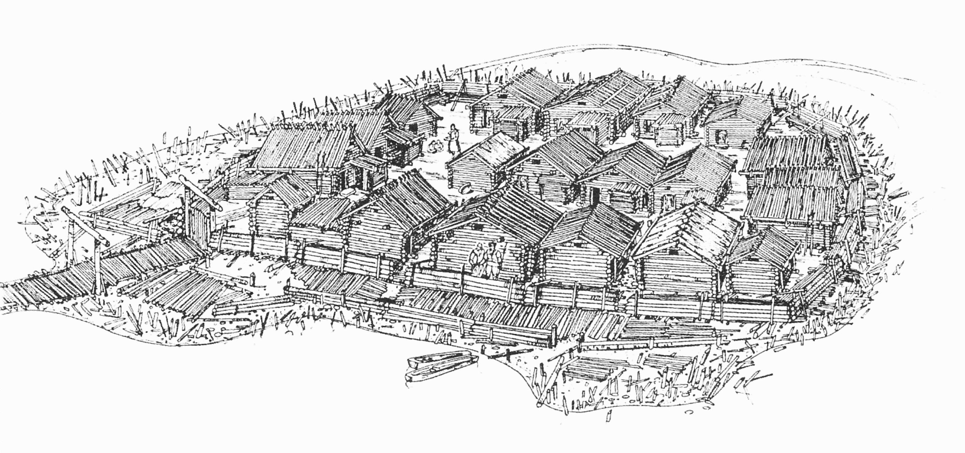 Реконструкция Арайшского озерного замка. Рисунок Дз. Дрибы.