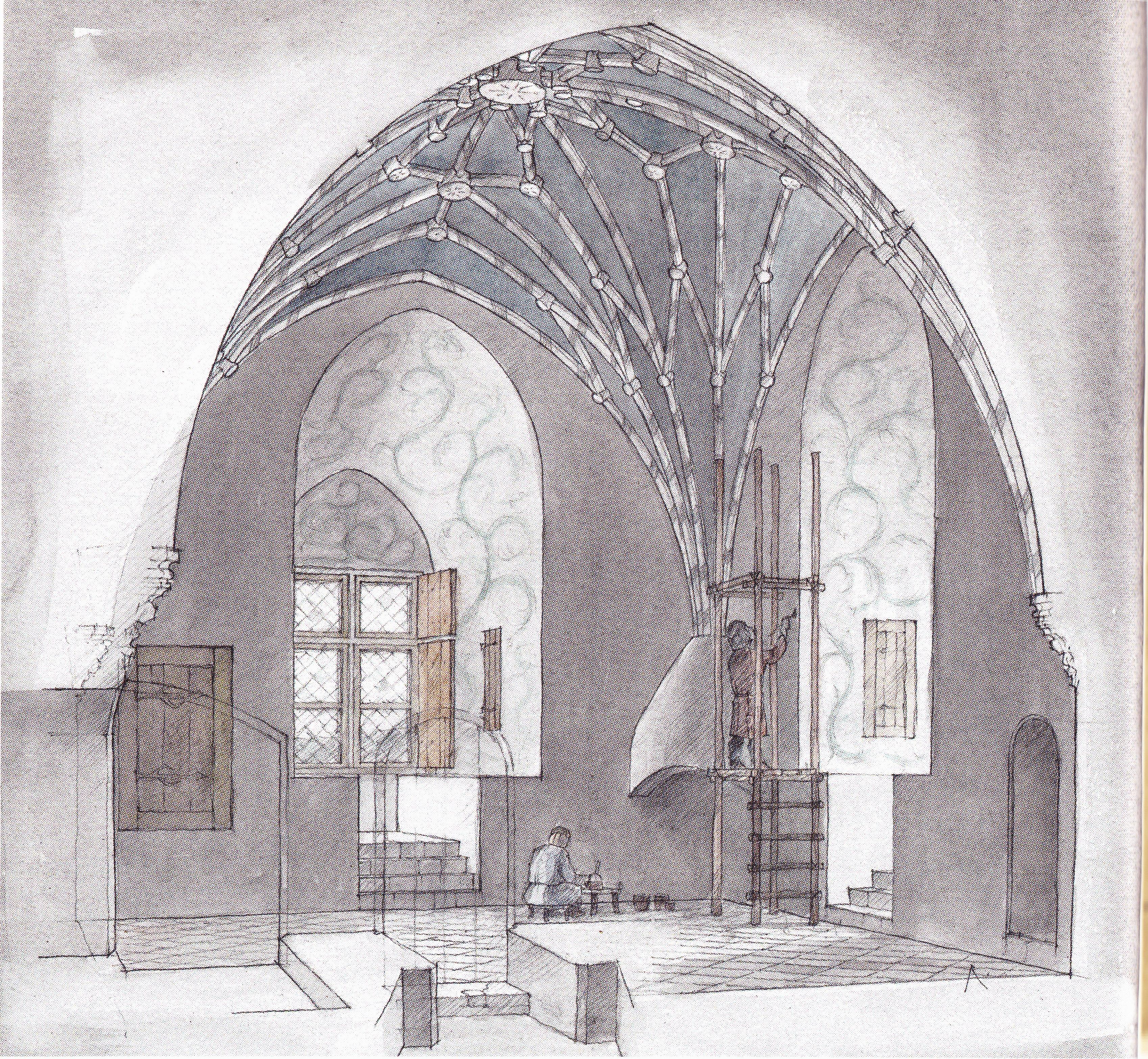 Реконструкция интерьера магистрского покоя, второй этаж Западной башни.
