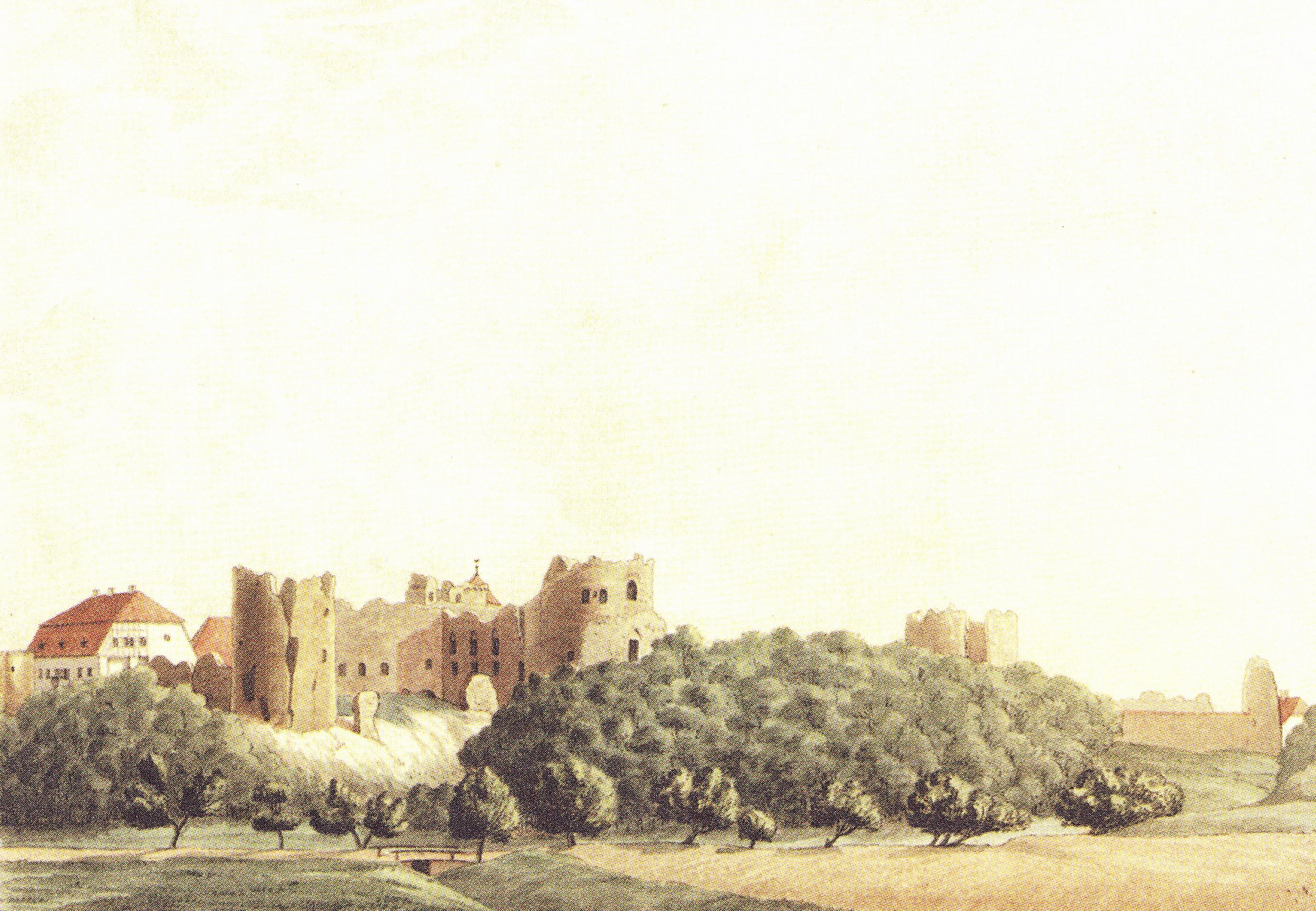 Развалины Цесисского замка. Рисунок В. Туча, Х.Кунце, 1827-30 года.