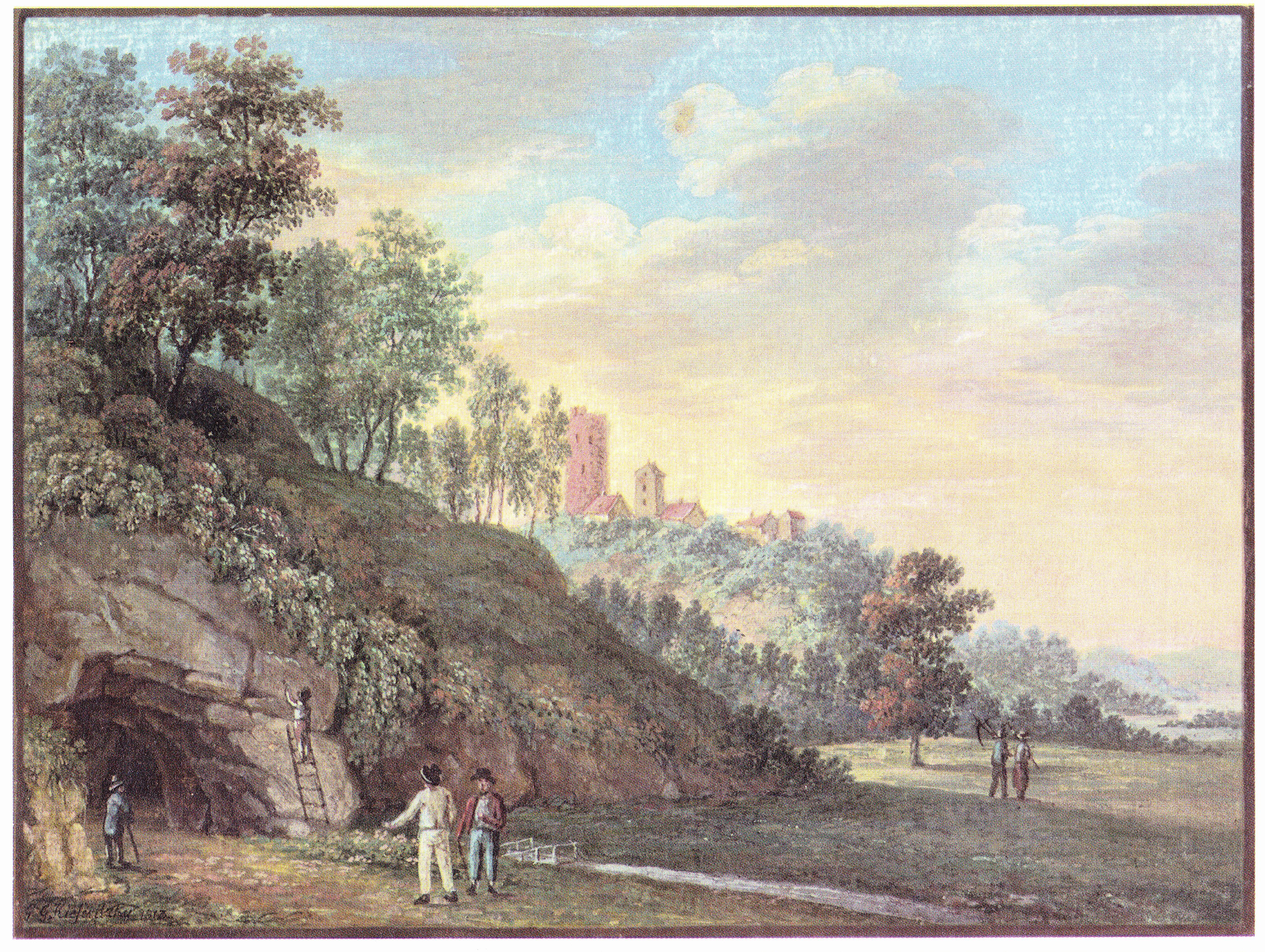 Пещера Гутмана и окретности Турайды. Картина Густава Герхарда Кизерицки,1813 год.