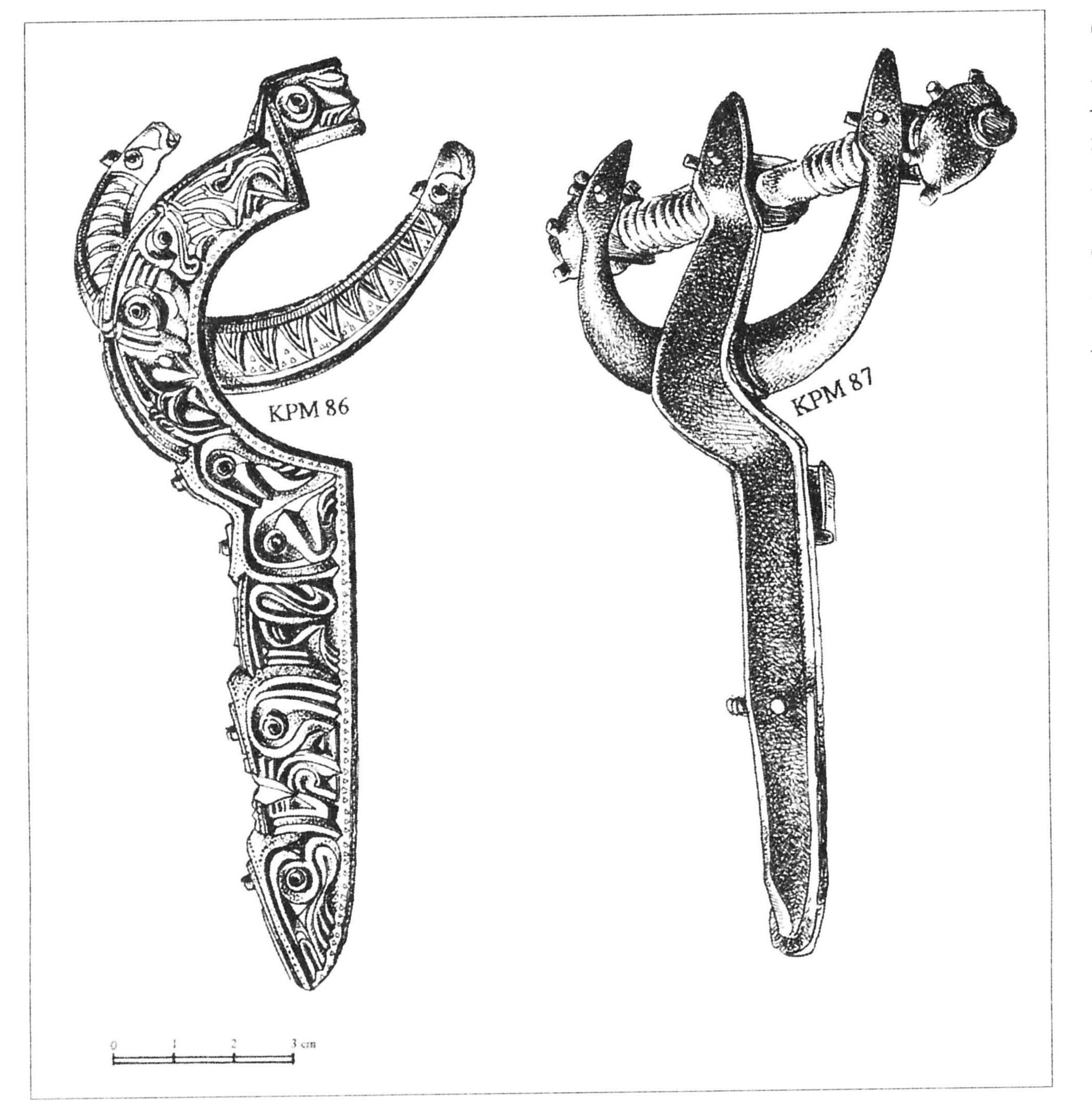 Арбалетовидные фибулы, найденные в Гробине в середине XIX века.