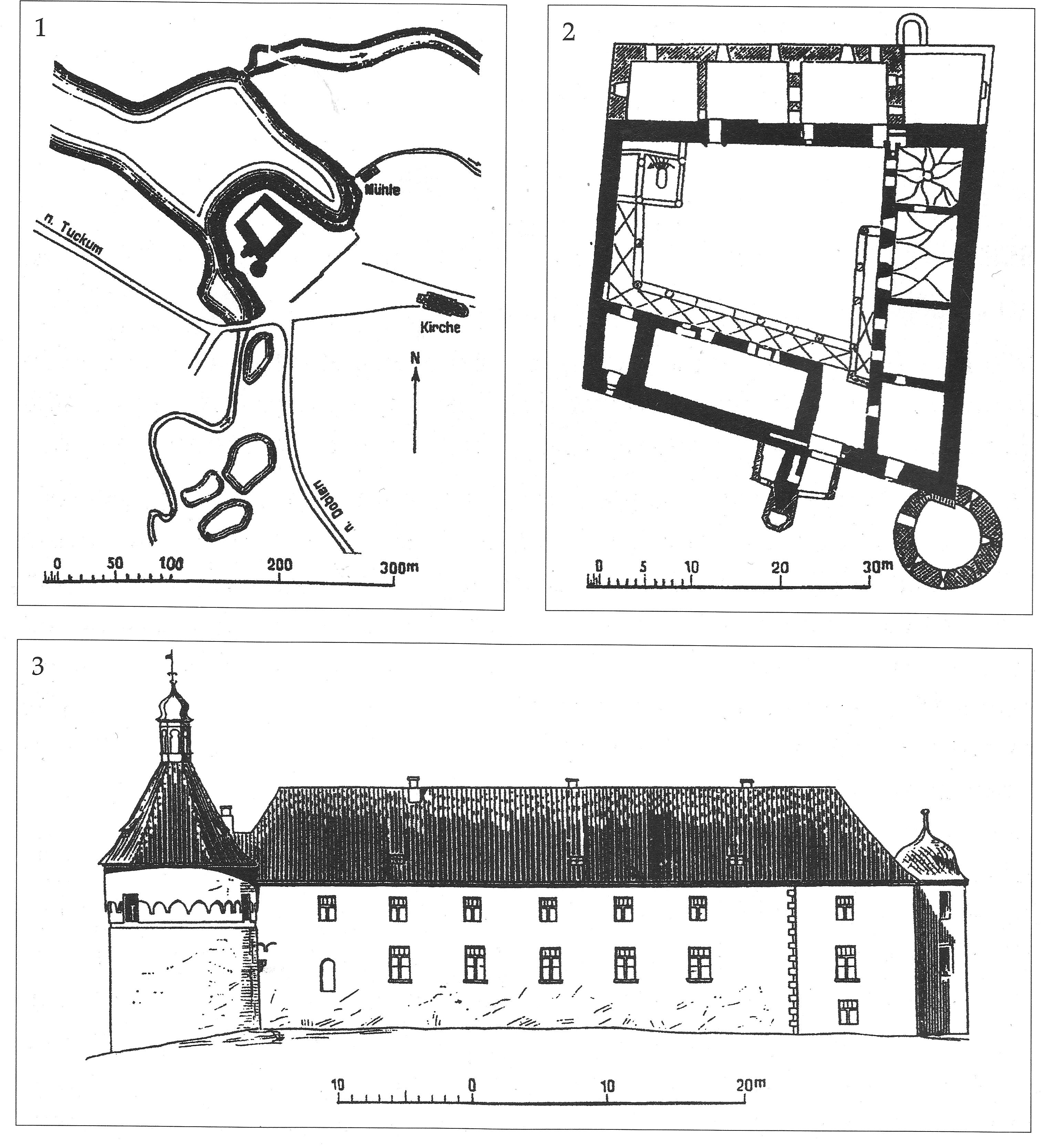 Схема расположения, план замка и юго-восточный фасад замка. Рисунок из статьи Schmid B. Die Burgen des deutschen Ritterordens in Kurland.