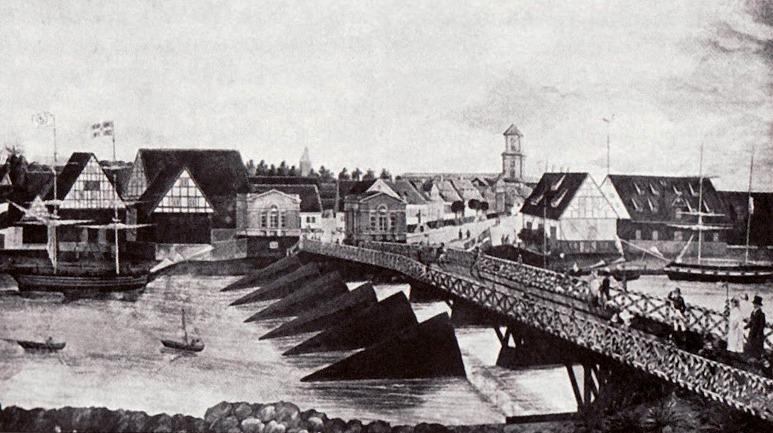 Вид на южный берег лиепайского канала. Рисунок 1830 года.