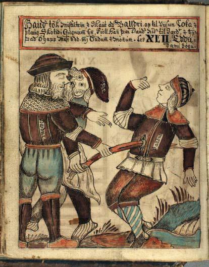 Смерть Бальдра. Иллюстрация из манускрипта XVIII века.