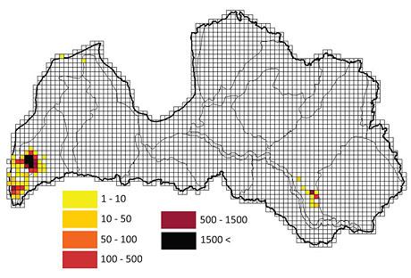 Карта распостранения белой омелы на территории Латвии. © Ritvars Reimanis.