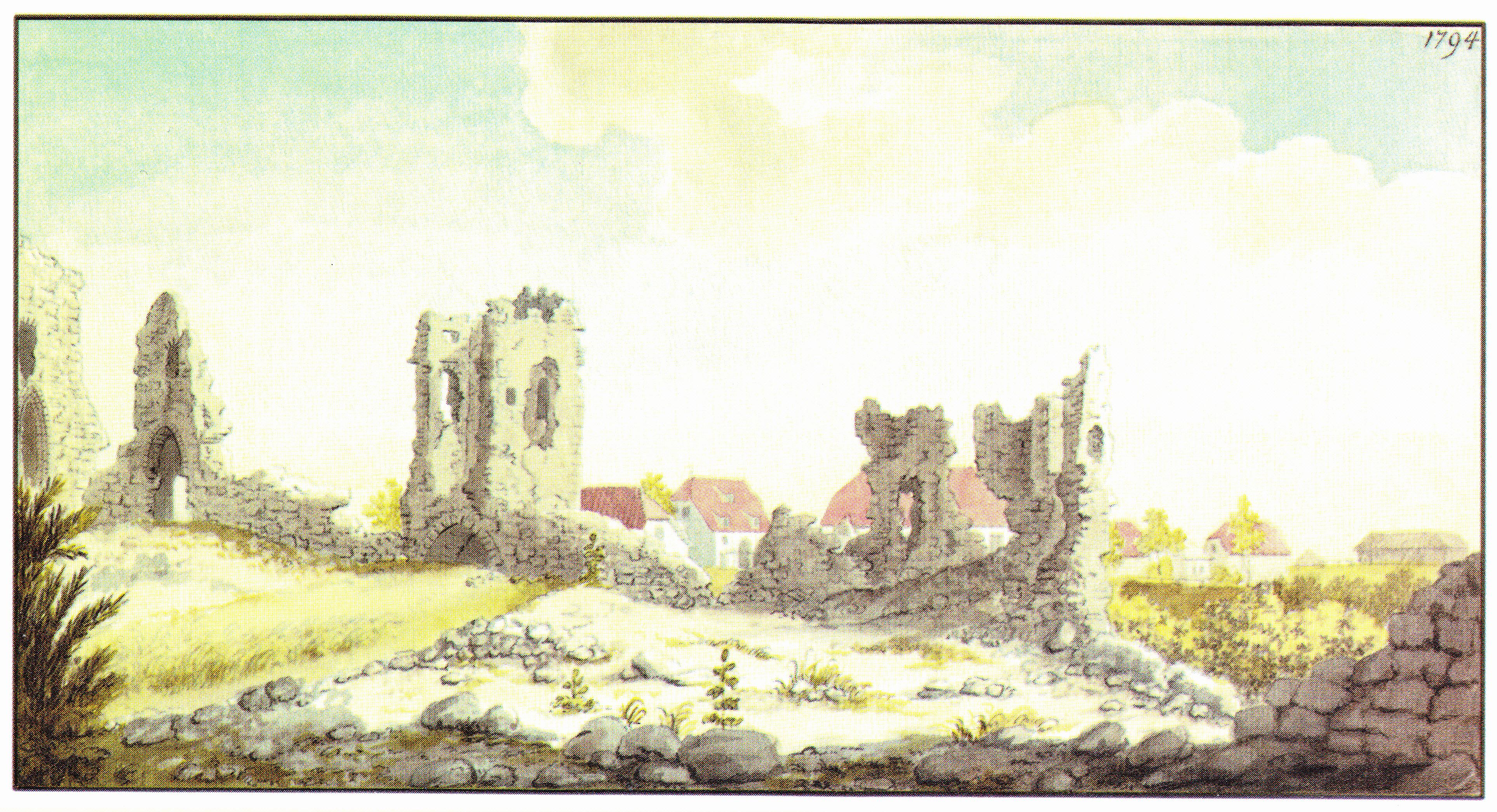 Развалины Сигулдского замка. Рисунок И.К. Броце, 1794 год.