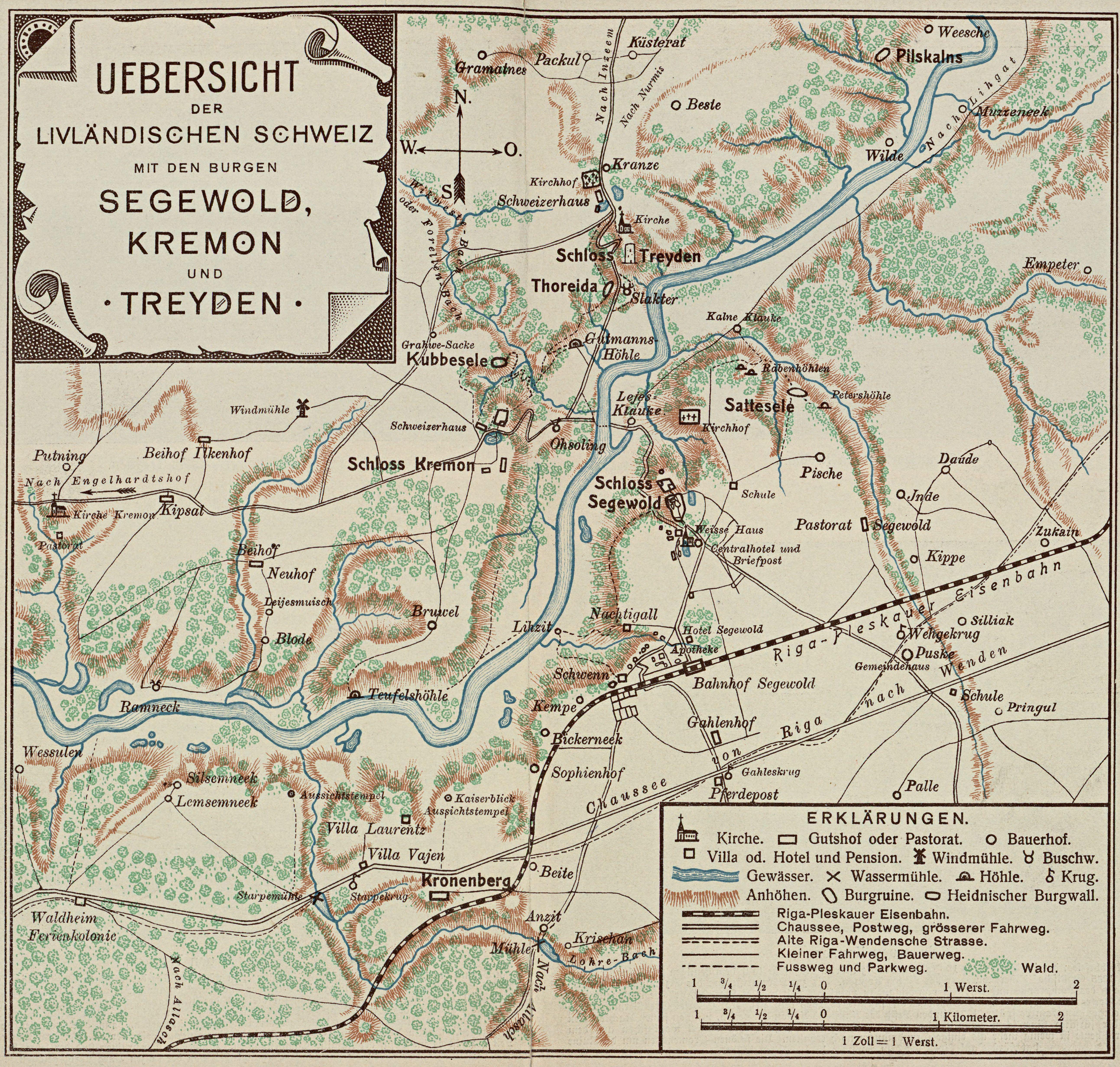 Карта Сигулды начала XX века.