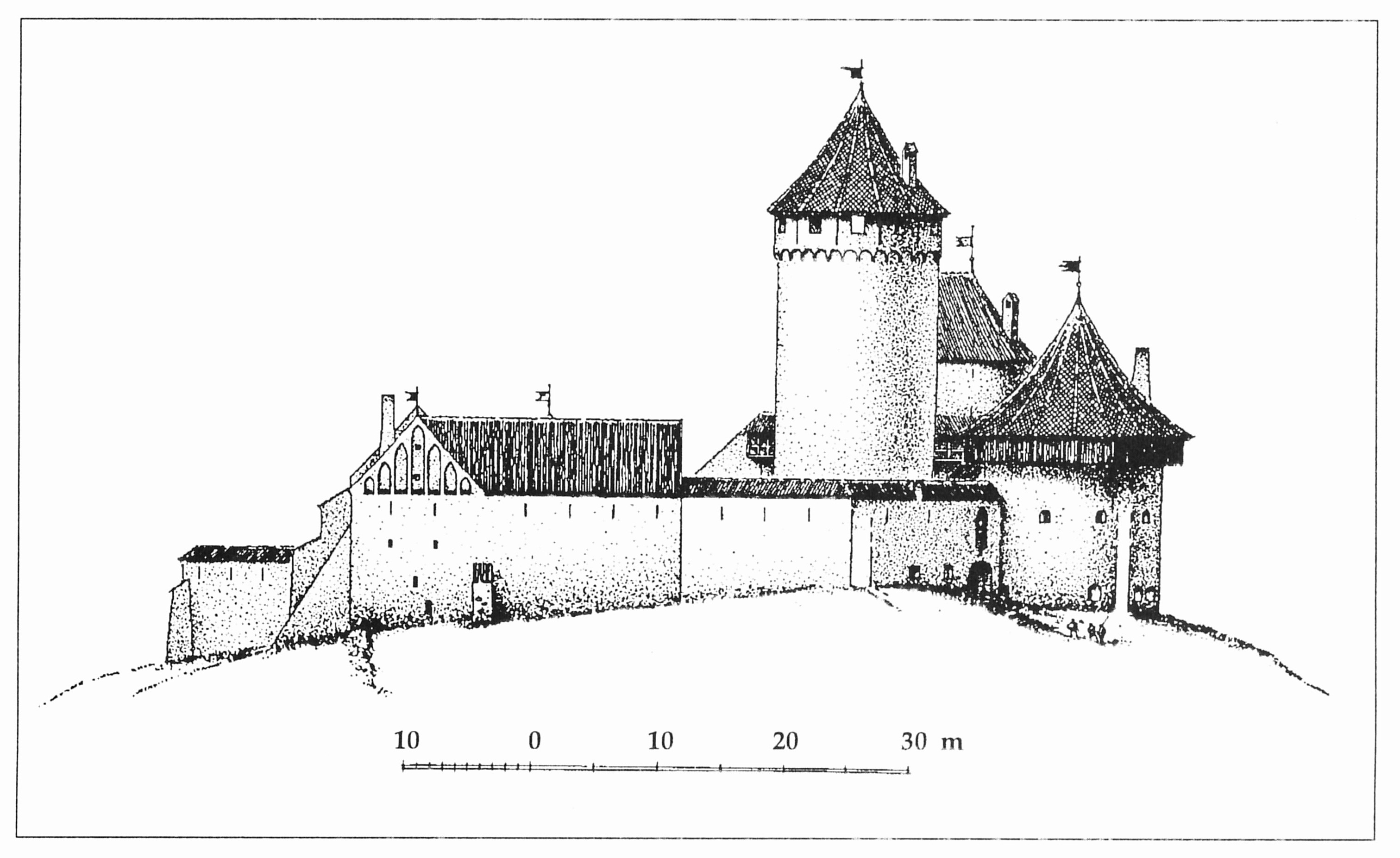 Вид Турайдского замка с севера. Реконструкция Г. Янсонса.